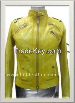 Women's Biker Leather Jacket Style F-12263