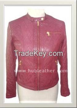 Women's preppy biker Leather Jacket Style F-12589