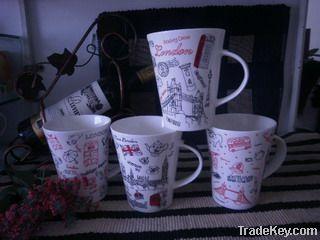 new bone china mug with unique decal