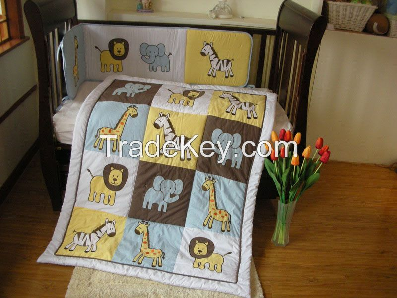 100%cotton animals applique baby bedding set wooden baby crib cot