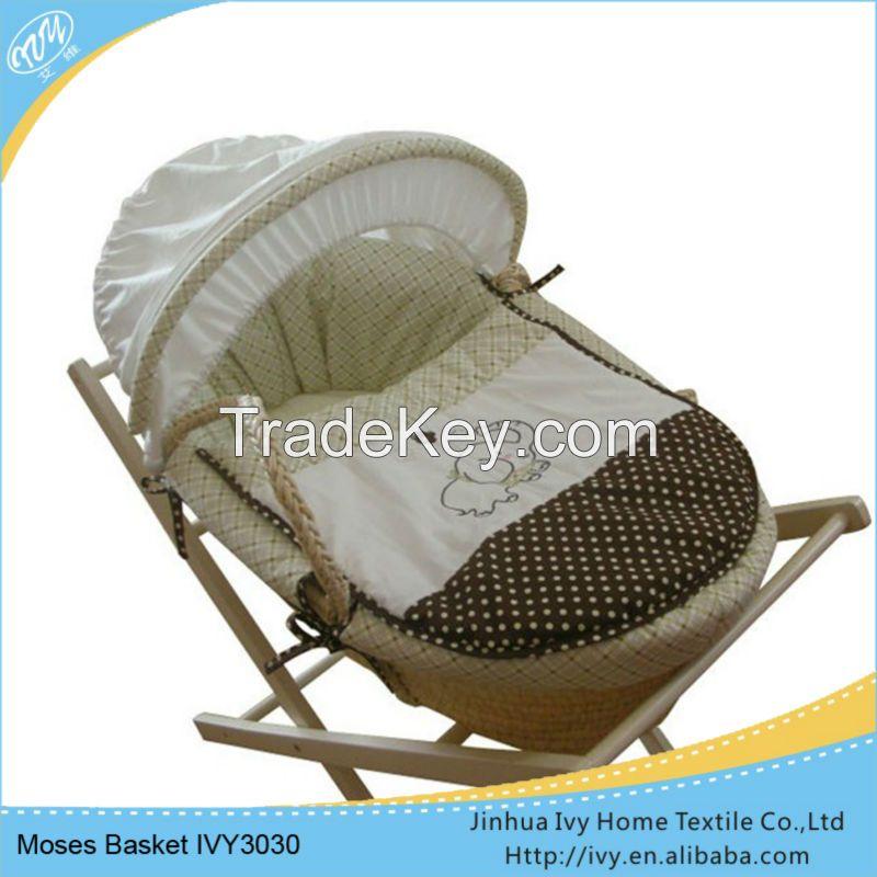 OEM baby basket set straw baby bassinet