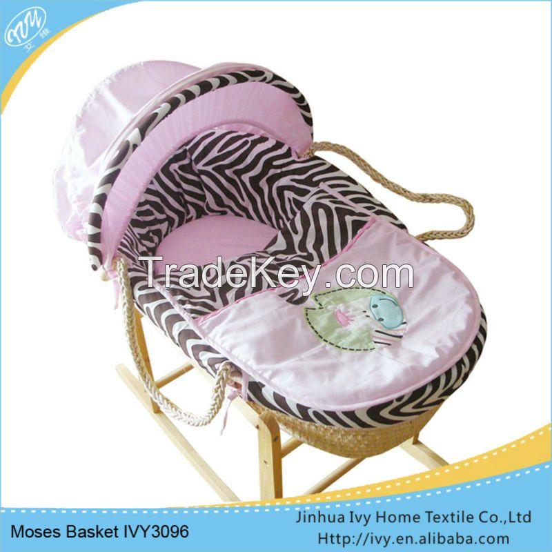 new product baby basket set straw baby moses basket