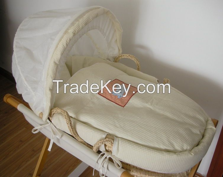 china factory baby basket set wooden stand carved