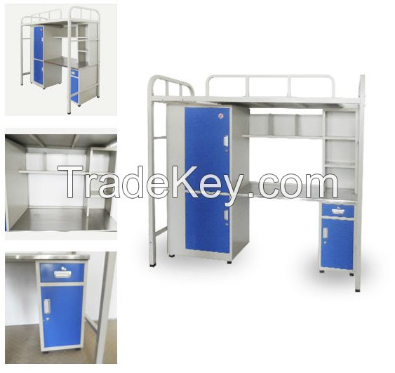 Iron apartment bed with desk and wardrobe