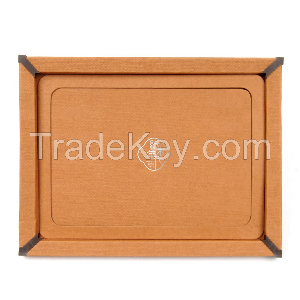 Paper&Wood Ages Orange Grid Cloth Style Cardboard Picture Frame, Picture Mats, Paper Picture/Poster Frame.Cardboard Removable Picture Photo Frame, Paper Photo Frame, Cardboard Photo Frame (Blu-Tack Included)