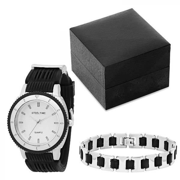 Stainless Steel Watch and Bracelet Set comes in Gift Box