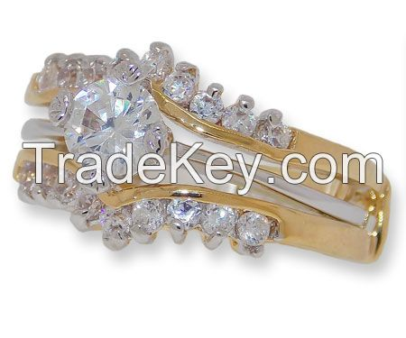 Two Piece CZ Wedding Set, engagement ring in yellow gold
