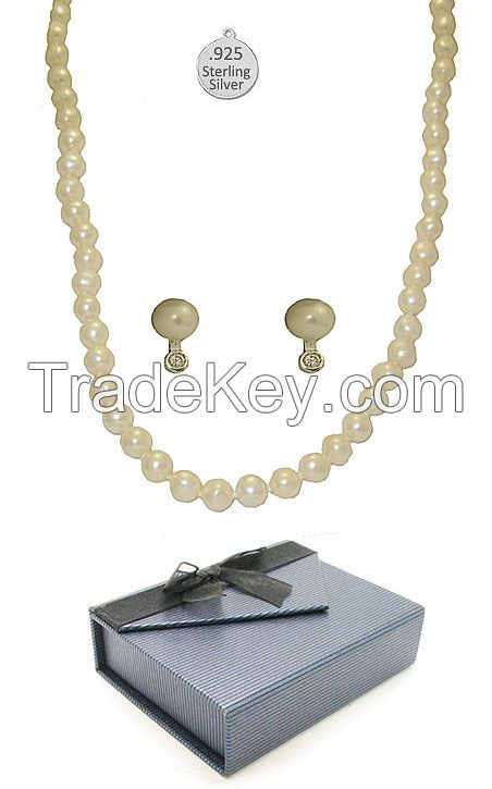 Cultured Cream Pearl 2 PCS set in Sterling Silver