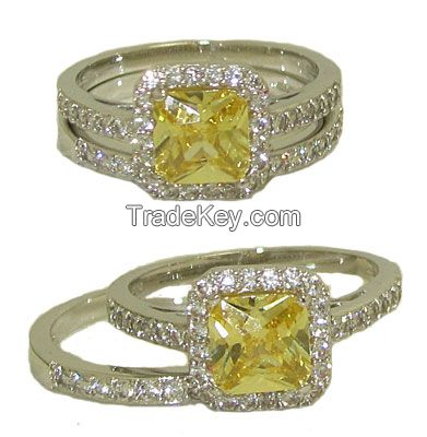 Wedding Engagement Ring in Rhodium with Yellow Diamond