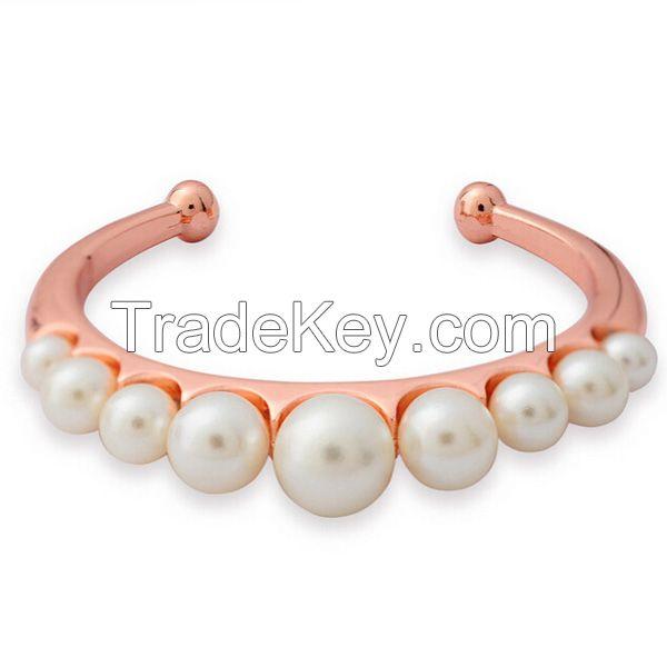 Rose gold cuff pearl bangles