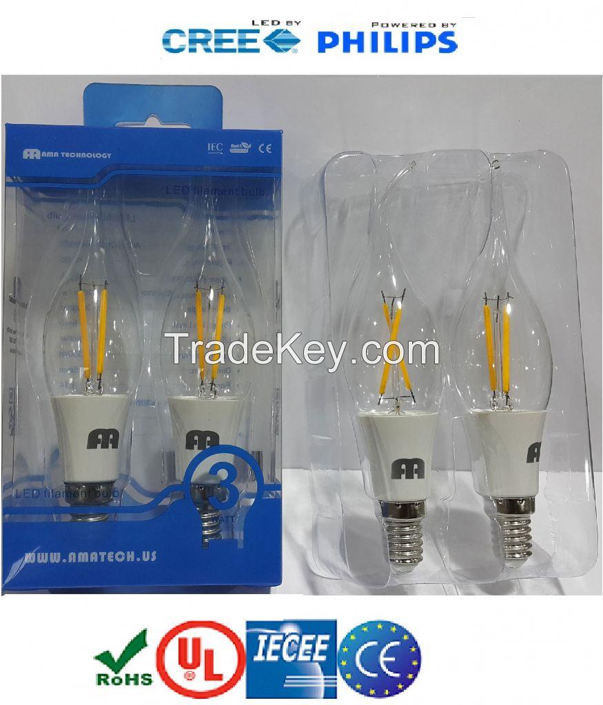 3 Watt LED filament bulbs