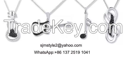 Perfect Christmas Gift Creative Guitar Pendant 925 Silver Black +White Color Customiszed Service Available