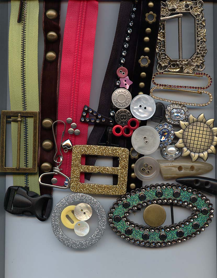 zippers, buttons, ornaments