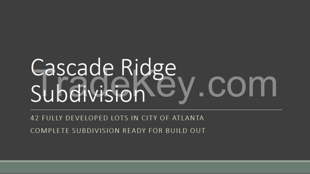 Cascade Ridge Subdivision, Atlanta, Georgia, USA Real Estate Investment