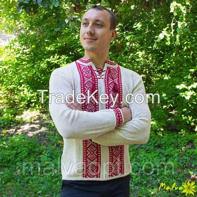 Ukrainian National Embroidered Men Shirt, Folk Style, Vyshyvanka, 100% Linen