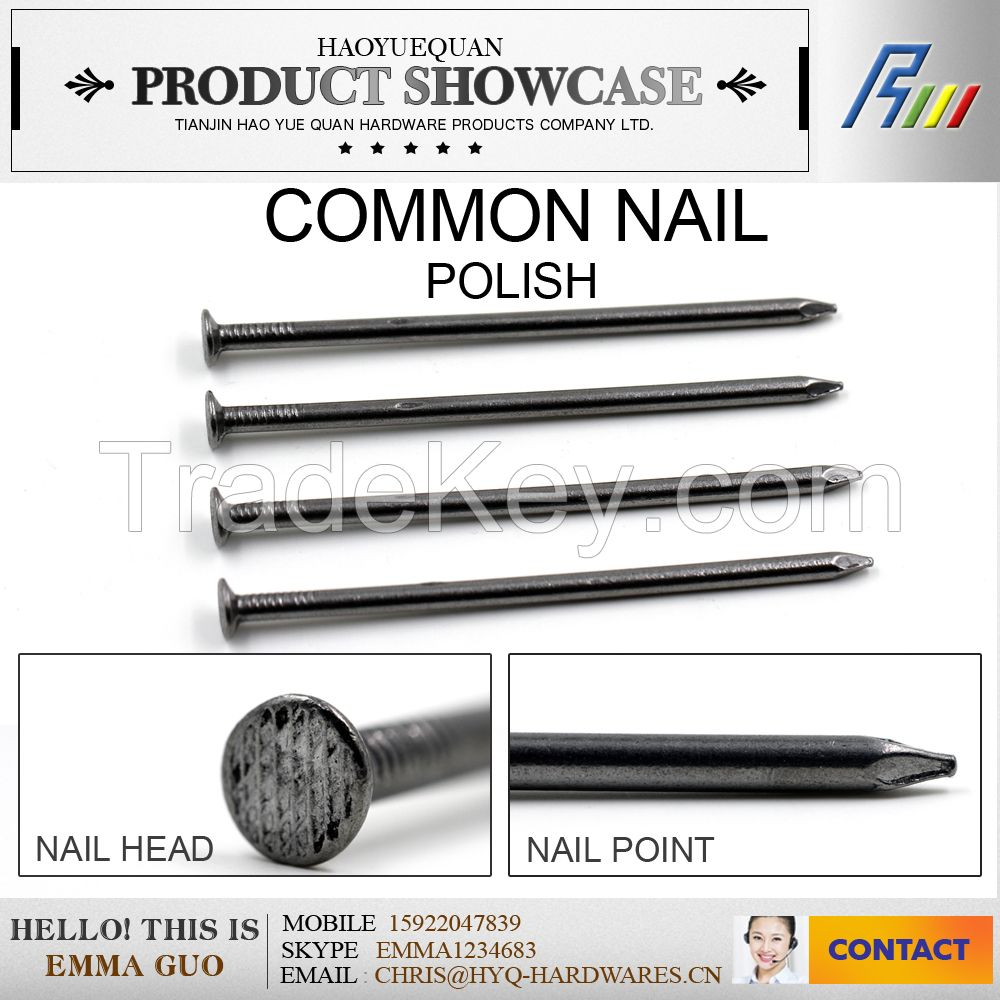 1.5-6.0mm 1-6inch high quality Q195 polish common nail/construction nail made in china plant