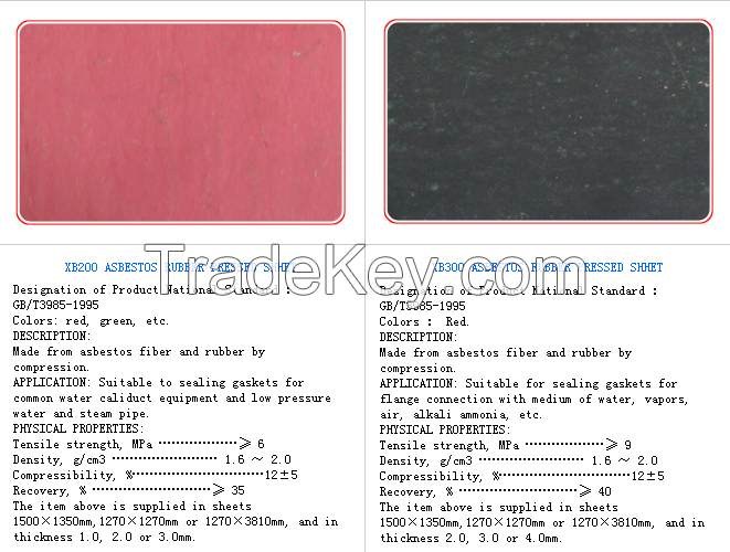 Prime quality asbestos rubber sheets,made by Tianshun Sealing Material,China