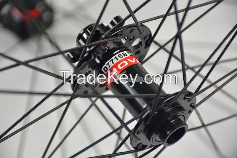 29er 27.5er 27mm wide Bead hookless MTB carbon wheels Clincher Tubeles