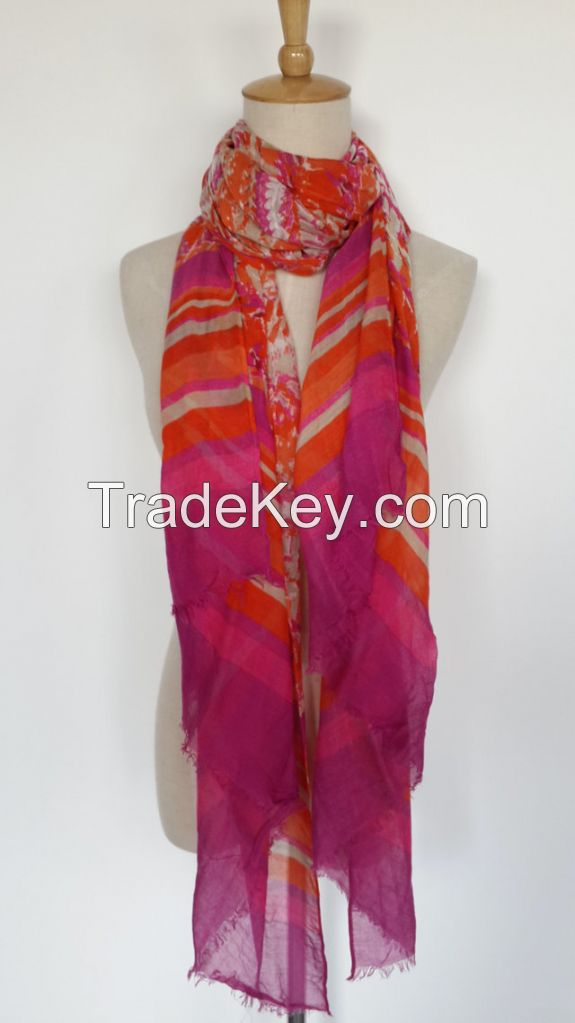 100% Viscose Soft Skin Friendly Bohemia Style Colorful Long Scarf