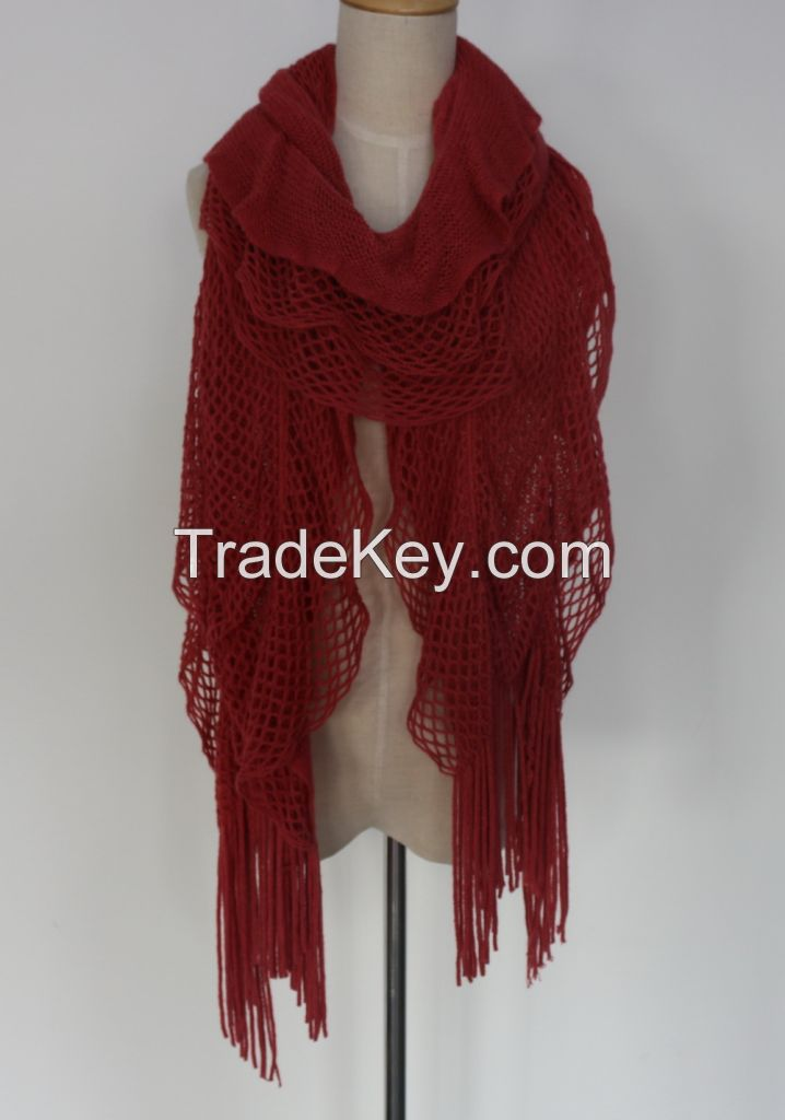 100% Acrylic Winter Knitted Scarves for Fashion