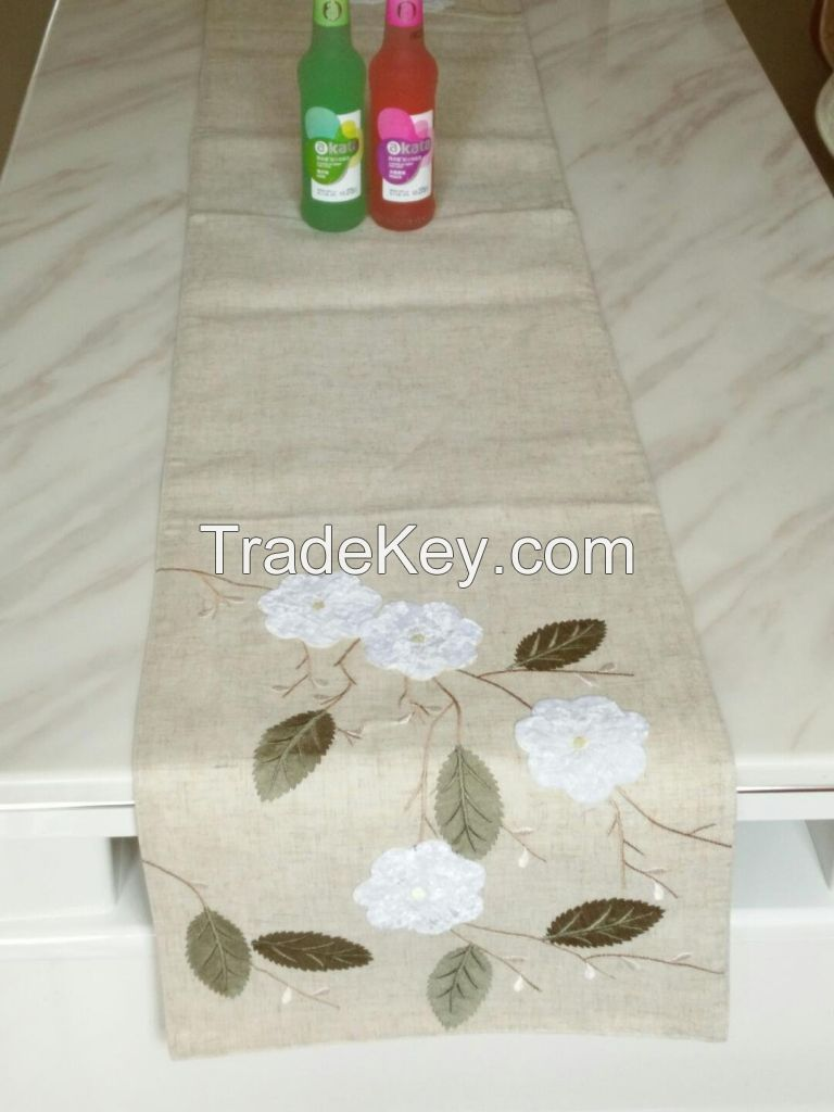Embroidered patches table runner linen type cloth