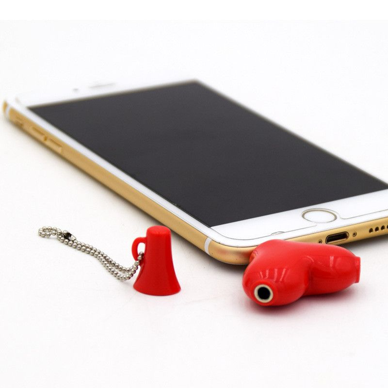 Heart-shaped 3.5mm Jack Aux Audio Cable Earphone Music Share Splitter for iPhone iPad iPod MP3 MP4 Media Player