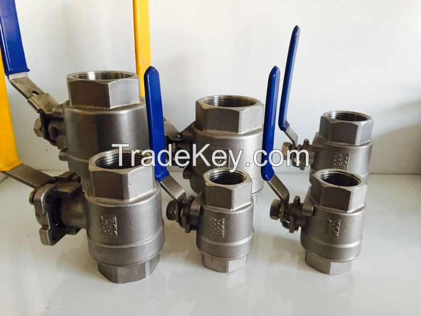 1PC/2PC/3PC stainless steel thread ball valve with 1000PSI