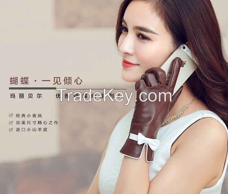 2015 New Style Hot Selling Goatskin Lady Fashion Touch Screen Leather Gloves With Bowknot