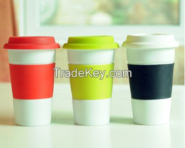 two-tone inner and rim color sublimation  ceramic coffee/latter cute mug cup and saucer