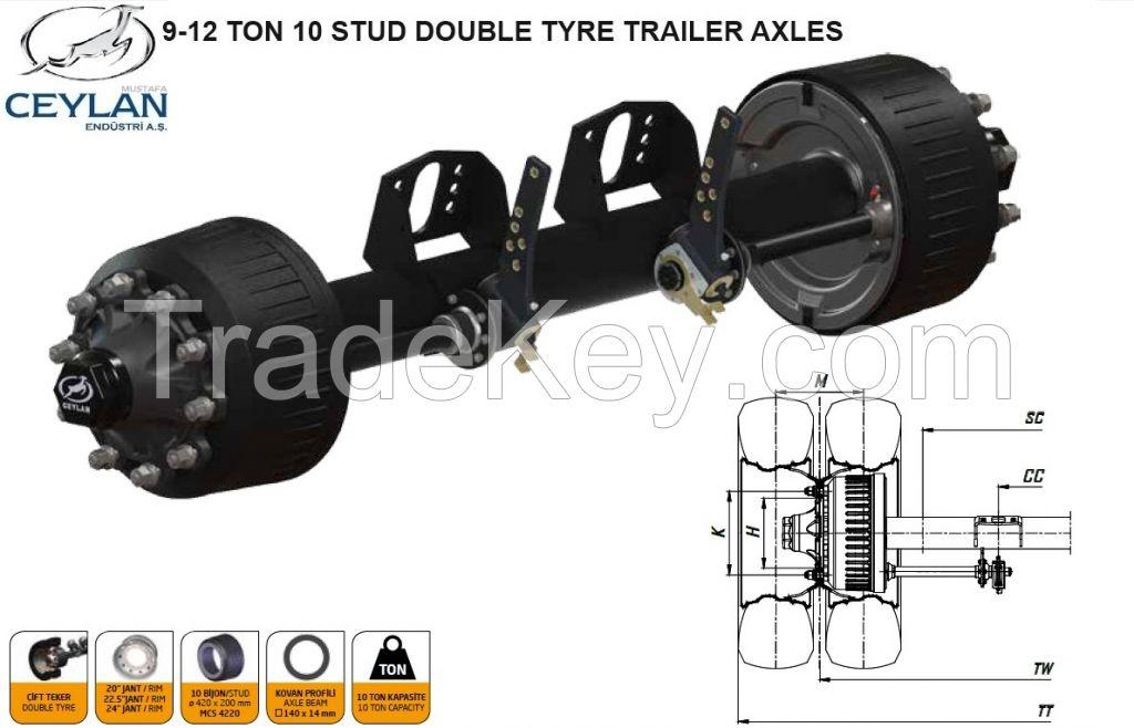 DOUBLE TYRE TRAILER AXLES