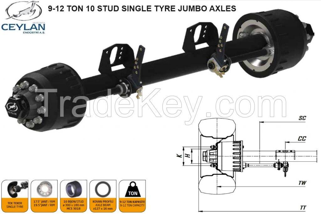 SINGLE  AND DOUBLE TYRE JUMBO TRAILER AXLES