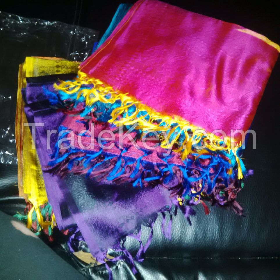 100% Pure Silk Scarves with Tassles