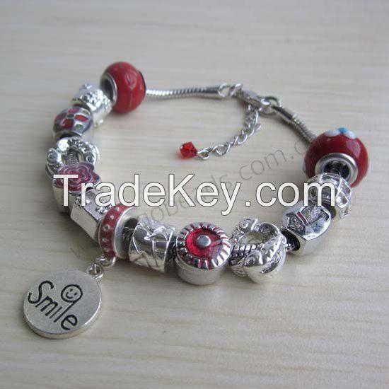 Pandora style beads with metal charms bangle bracelet