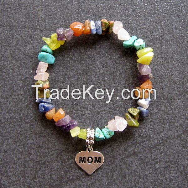 Customize Gemstone heart design friendship bracelets with Letters