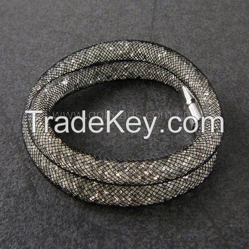 Fashion USA Style Crystal DOUBLE Wrap Mesh Fancy Bracelet 40cm with Magnetic Clasp