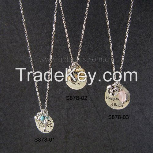 New Arrival Gemstone Beads Personalized Metal Charms Long Link Chain Necklace
