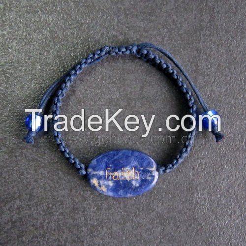 Handmade adjustable cuff leather rope weave rhinestone unisex bracelet