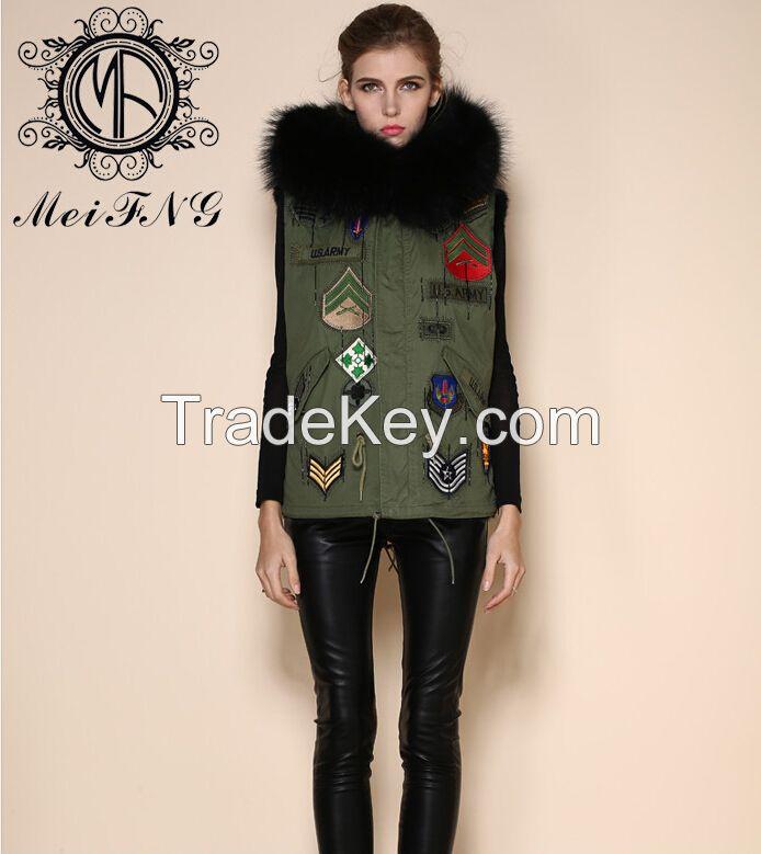 2015 Womens Winter Warm Raccoon Fur Short sleeveless cheap fur Vest