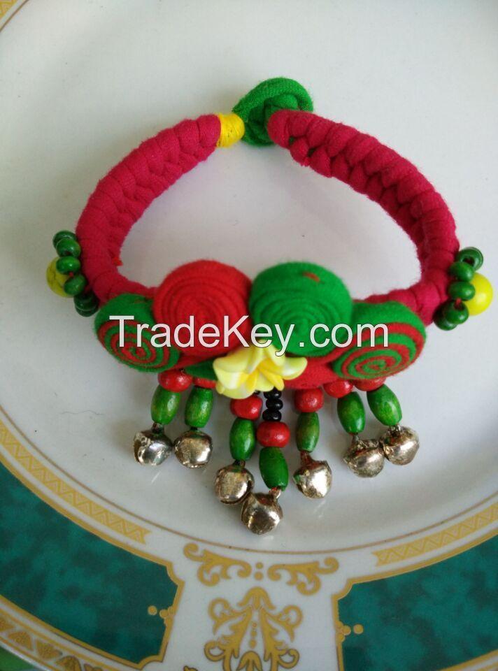Handmade Folk style fabric Bracelet with small hanging beads