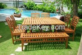 Dinning Set - 8 pieces - wooden furniture - garden set