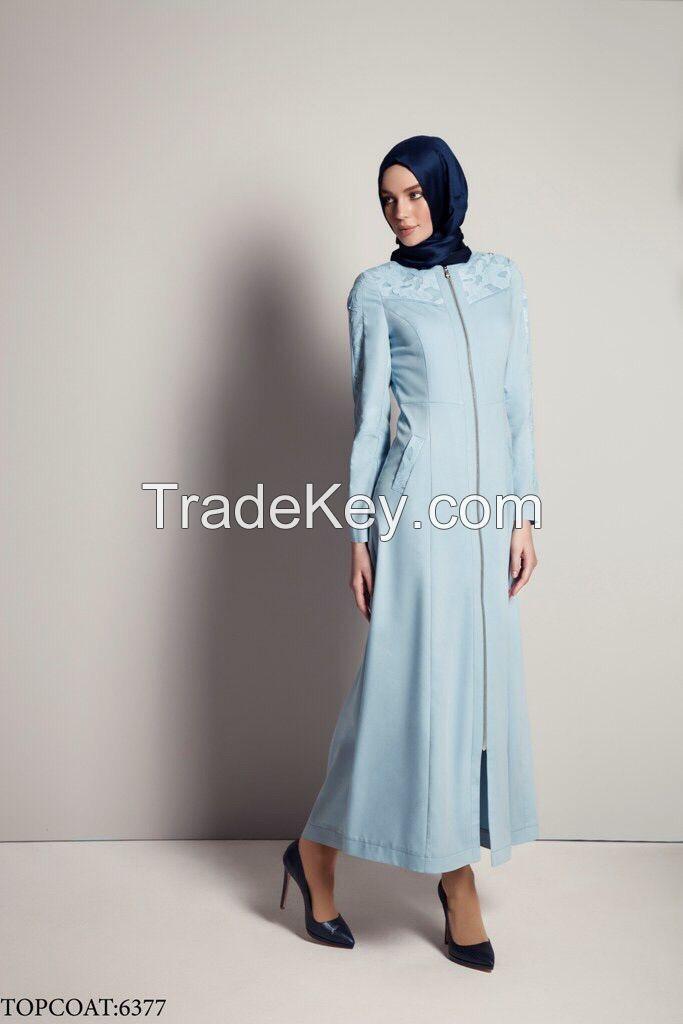 2015 new fashion  blue lady jacket long topcoat