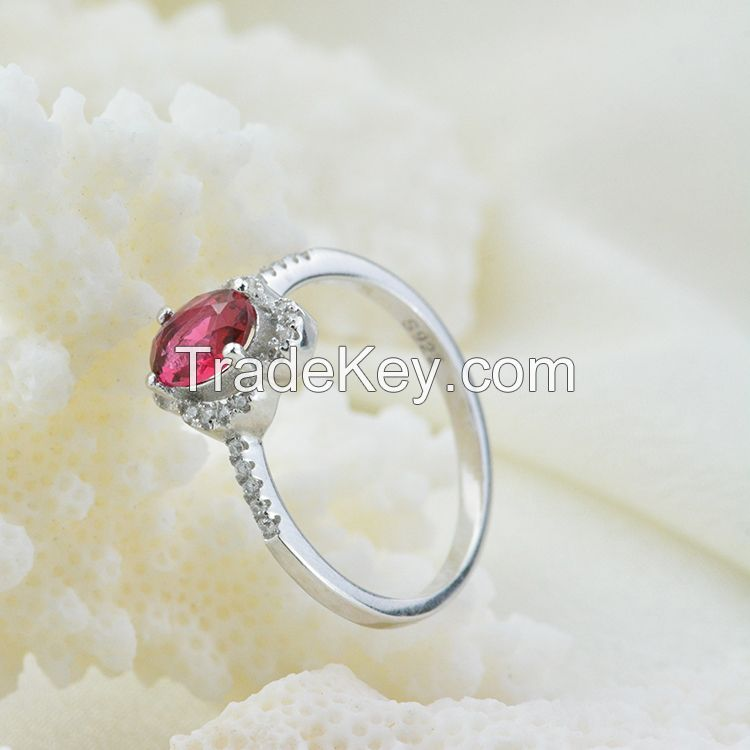 wedding ring !100% 925 sterling silver ring inlaid ruby gems !
