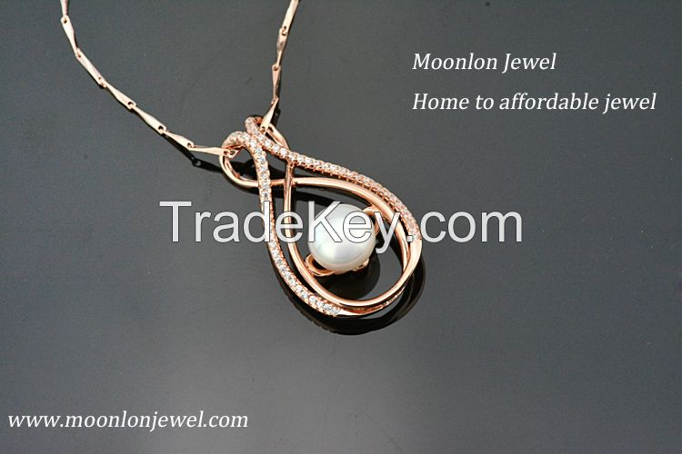 100% 925 sterling silver pendant ,natural freshwater pearl pendant !