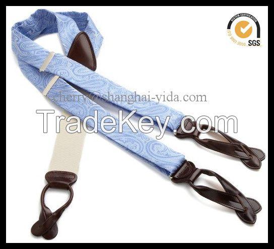 3.5CM 100% silk suspender with genuine leather loop(SP16401)