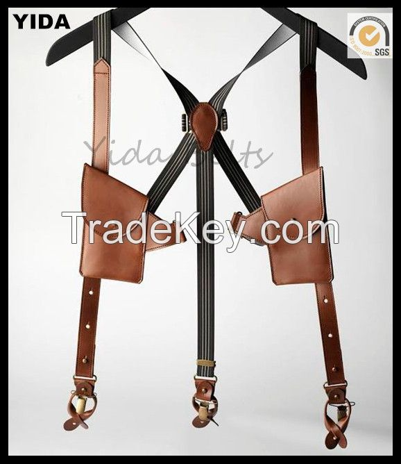 Fashion Genuine leather Suspender With pockets