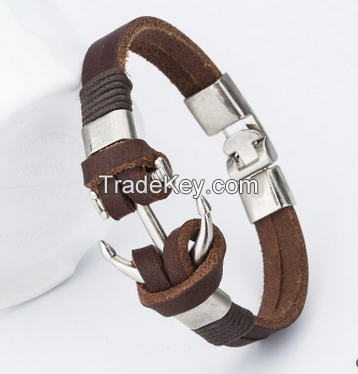 Fashion genuine leather bracelet  with dumb old silver buckle