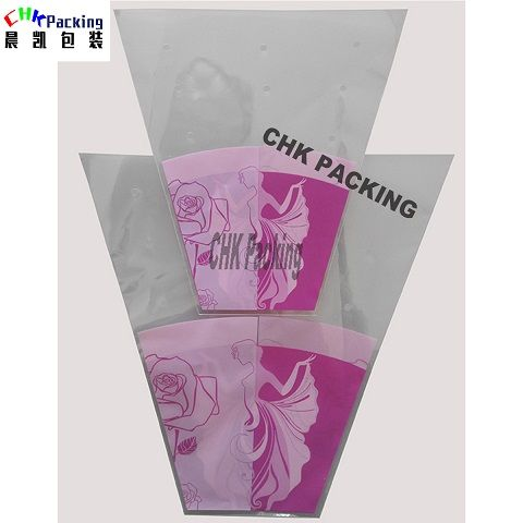 High quality printing folding fancy PLA  plastic floral flower wrapping sleeves bopp bag