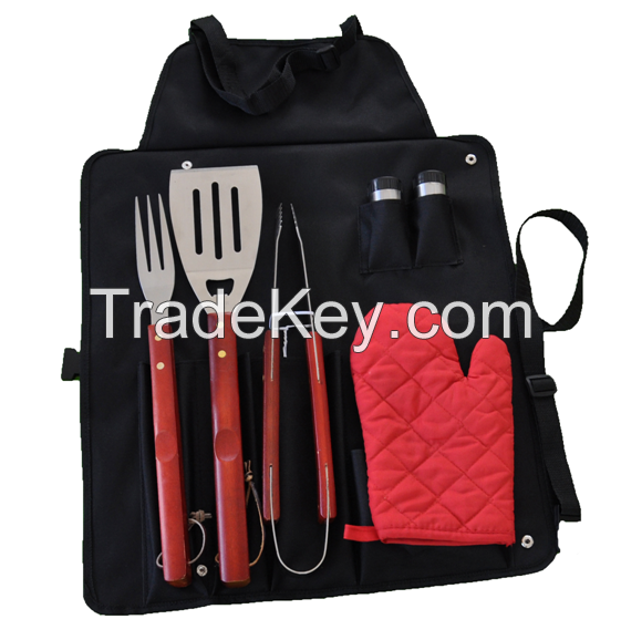 Set tools, apron 6 woolly BBQ tools, BBQ, apron BBQ set, BBQ