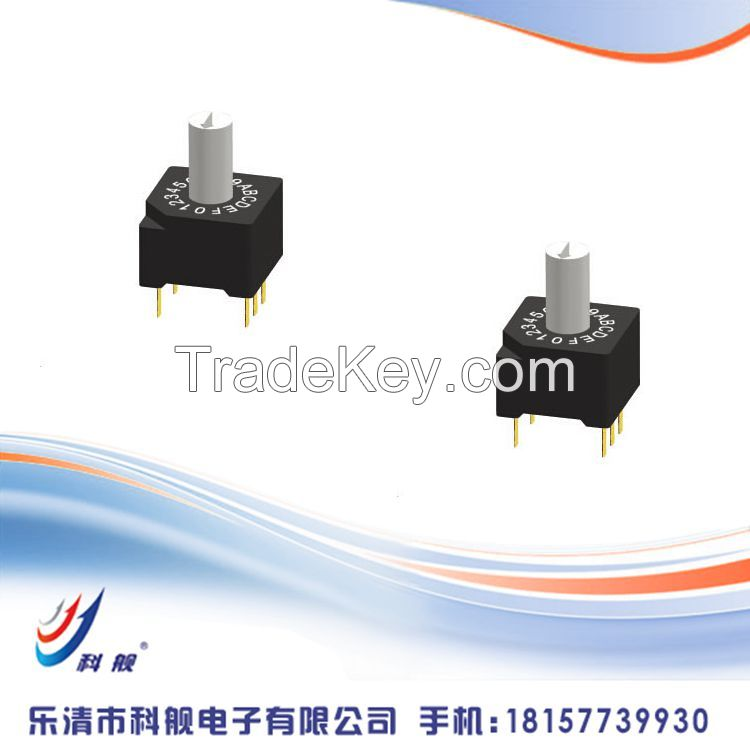 10*10mm Rotary Type , 10.0* 10.0*13.75 Snap-in  Rotary Switch