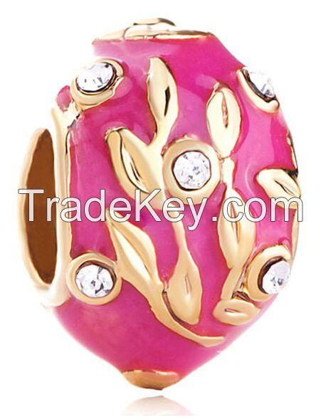 hand enameled metal Easter Faberge egg beads for charms bracelet